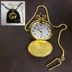 Custom Clip-On Metal Pocket Watch with Chain in Black Faux Suede Pouch (Gold)
