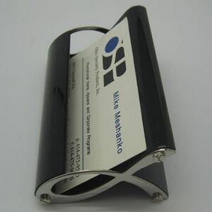 BUSINESS CARD HOLDER, SILVER AND BLACK (Laser engraved)