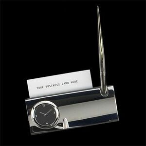 Silver Plated Business Card Holder W/ Clock