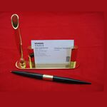 Custom Gold Plated Business Card Holder w/ Pen (Screened)
