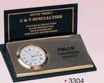 Custom Gold Plated Black Business Card Holder w/ Clock