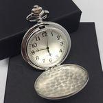 Custom Brushed Stainless Steel Pocket Watch w/12