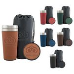 Custom 16 Oz. Regency Tumbler Gift Set w/Leather Pouch