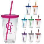 Custom 16 Oz. Carnival Cup with Colored Straw & Colored Lid