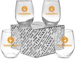 Custom 15 Oz. Stemless White Wine Glass Thank You Set
