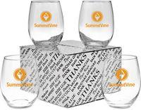 15 Oz. Stemless White Wine Glass Thank You Set
