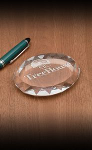 Faceted Oval Paperweight Award