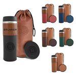 Custom 14 Oz. Alta Series Wood Grain Tumbler Gift Set w/Bag