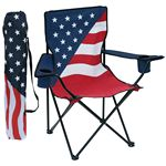 Custom Patriotic Collapsible Folding Chair w/Arm Rests, 2 Cup/Cell Phone Holders, & Matching Carry Bag