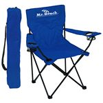 Custom Folding Chair w/Arm Rests, 2 Cup Holders and Carry Bag