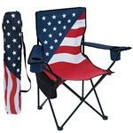 Custom Patriotic Folding Chair w/Removable Cooler, Arm Rests, Cup/Cell Holders, & Matching Carry Bag
