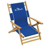 Custom US Made Deluxe Folding Hardwood Frame Low Seating Height Beach Recliner