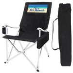 Custom Collapsible Folding High Back Aluminum Arm Chair w/Wine Bottle & Can Cooler & Carry Bag