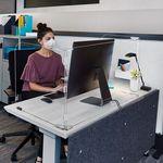 Custom 3 Panel Office Desktop Safety Barrier Partition
