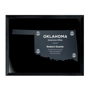 Frosted Acrylic OK State Cutout on Black Plaque