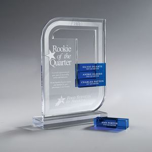 Clear Lucite Perpetual Award, Small (Glass Bars Sold Separately)