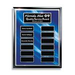 Custom Ebony Finish 12-Plt Layered Blue and Silver Border Plaque with Easy Perpetual Plate Release Program