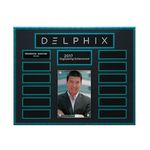 Custom Turquoise and Stone Background Lucite 13-Plt Photo Plaque with Easy Perpetual Plate Release Program