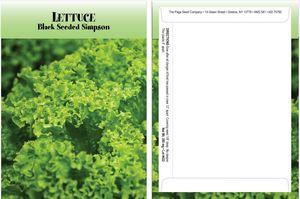 Custom Standard Series Lettuce Seed Packet - Digital Print/Packet Back Imprint