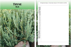 Standard Series Thyme Seed Packet - Digital Print /Packet Back Imprint