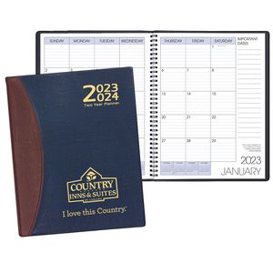Two Year Monthly Desk Planner w/ Carriage Vinyl Cover