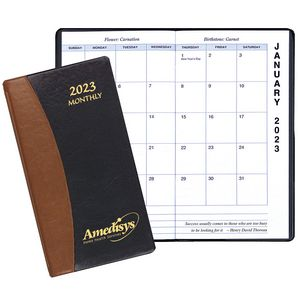 Monthly Pocket Planner w/ Carriage Vinyl Cover - Upright Format