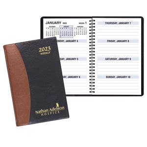 Large Print Weekly Desk Planner w/ Carriage Vinyl Cover