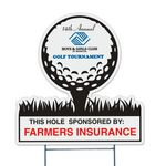 Golf Tee Corrugated Vinyl Die Cut Yard Sign (22.25