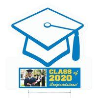 "Graduation Cap Corrugated Vinyl Die Cut Yard Sign (24""x24"") - Full Color"
