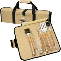 5 Piece BBQ Set (Bamboo) in Roll-Up Case