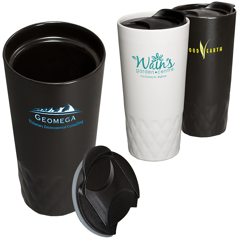 14 Oz. Double Wall Ceramic Textured Cup