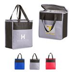 Custom Two-Tone Flat Top Insulated Non-Woven Grocery Tote Bag