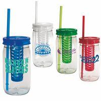 20 Oz. Plastic Mason Jar w/Infuser
