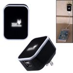 Custom Light-Up-Your-Logo Duo USB Wall Charger