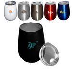 Custom 10 Oz. Stemless Vacuum Wine Cup w/Lid (Overseas)