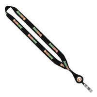 "3/4"" Polyester Dye Sublimated Lanyard w/ Retractable Badge Reel"