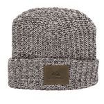 Custom Milliner Cuffed Knit Beanie with Leather Patch