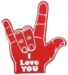 Stock I Love You Foam Hand Mitt