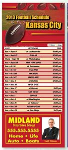 Professional Football Sports Schedule Magnet (3 1/2 x 8)