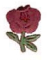 Embroidered Stock Appliques - Burgundy Red Rose