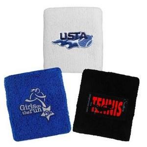 custom elastic terry cloth embroidery sport sweat wristband