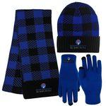 Buffalo Plaid Knit Cap, Fashion Knit Scarf & Text Gloves Combo