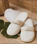 Custom Cobblestone Mills Quilted Velour Slippers in Travel Bag