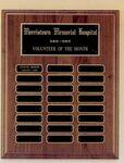 Custom Perpetual Series Walnut Plaque w/ 24 Engravable Plates (12
