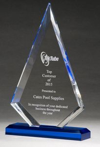 Arrow Series Clear Acrylic Award with Blue Highlight & Base