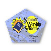 Church or Pentagon Shape Paper Hand Fan - Without Stick