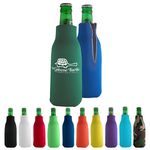 Zippered Bottle Beverage Insulator with 3 Sided Imprint