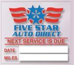 Custom V-T Service Reminder Sticker - Low Tac (2