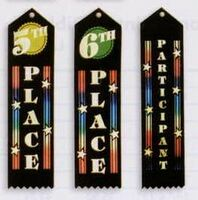 Multi-Colored Stock Merit Award Peak Top Ribbon with Card