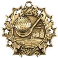 """2 1/4"""" Ten Star Antique Finish Medal-Golf"""
